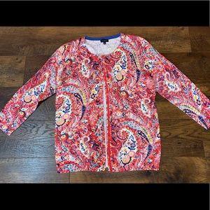 Talbots Beautiful Paisley Cardigan Sweater sz M~
